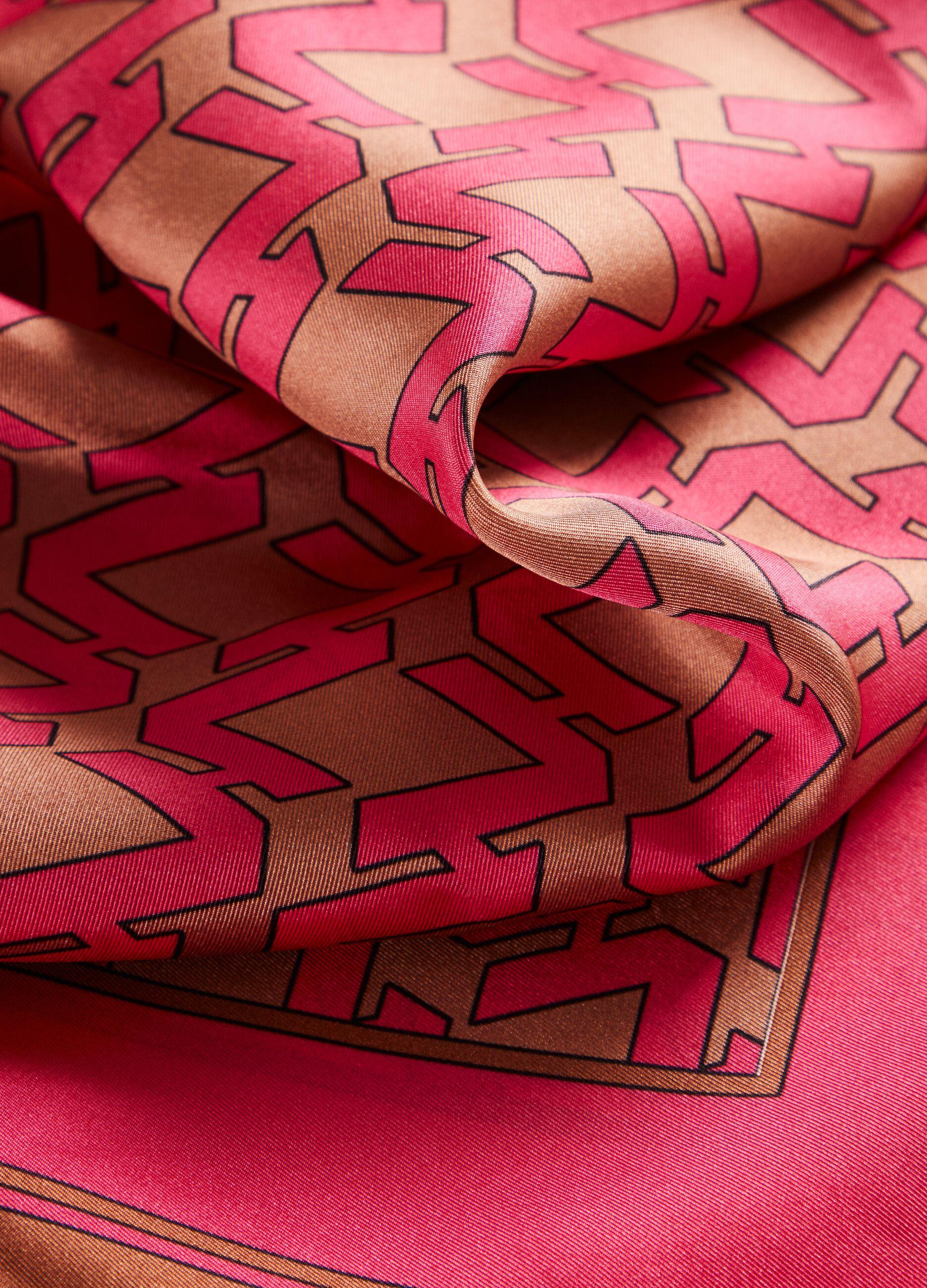 Foulard in seta con stampa geometrica Multicolor
