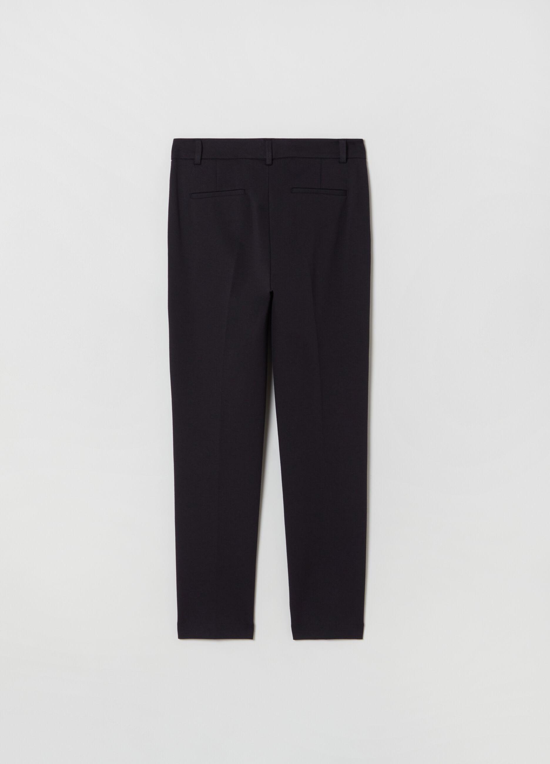 Slim-fit trousers in modal blend Black