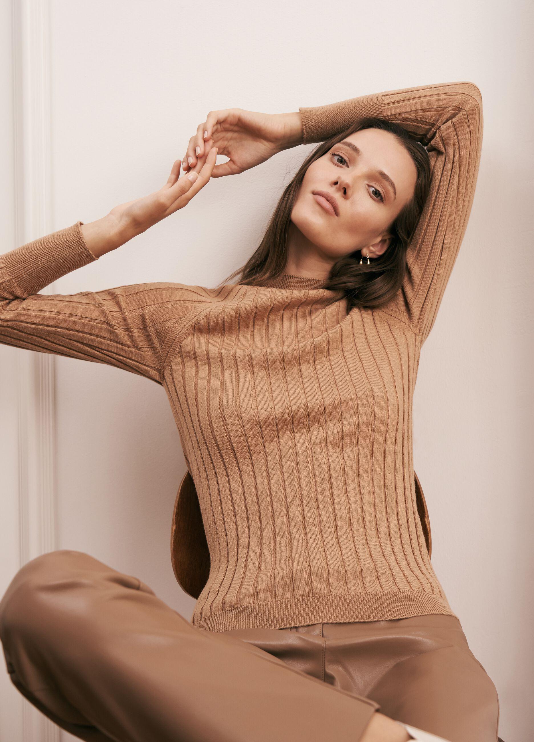 Pullover in lana merinos a coste piatte Marrone