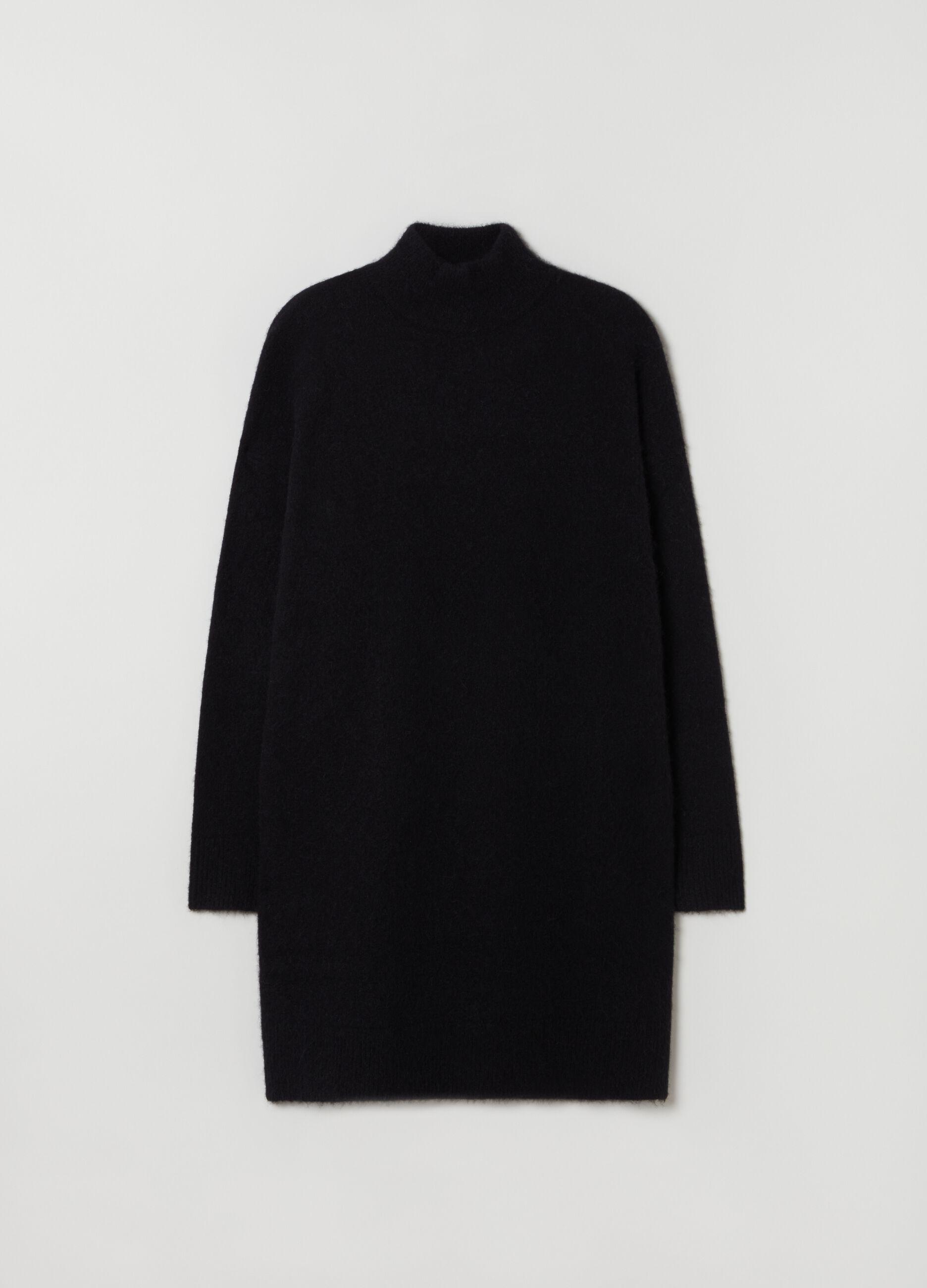 Maxi maglia in lana merino e alpaca Nero
