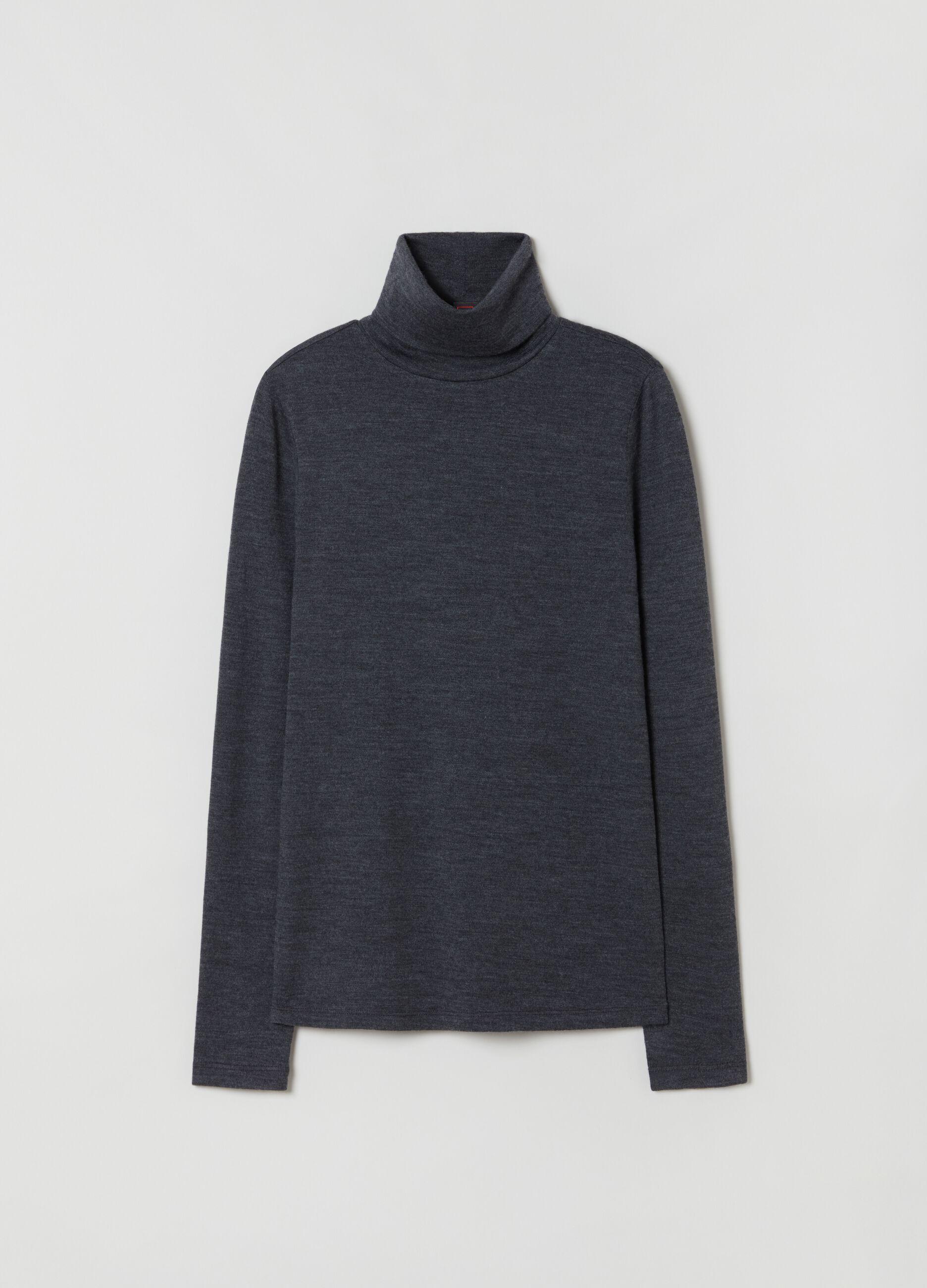 T-shirt a collo alto in pura lana Grigio