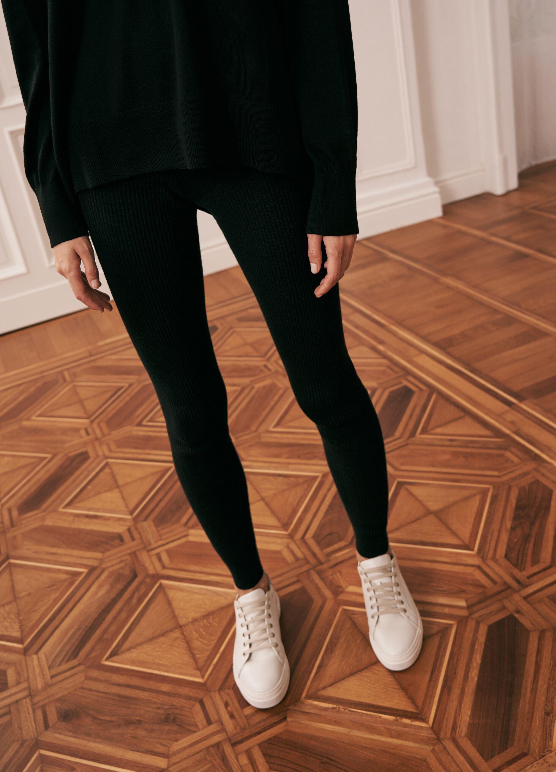 Leggings in maglia a costine Nero