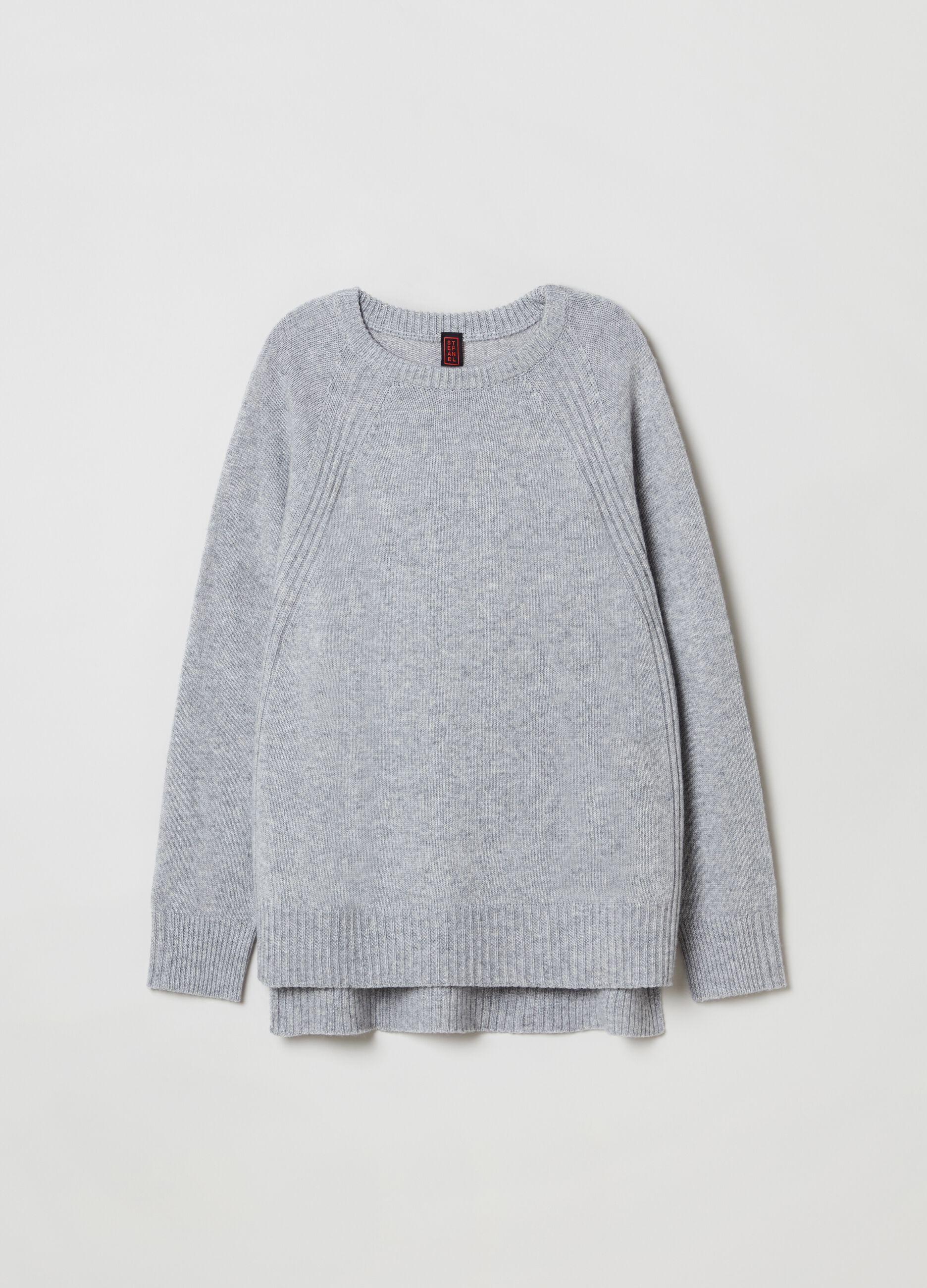Girocollo in lana e cachemire con spacchi Grigio