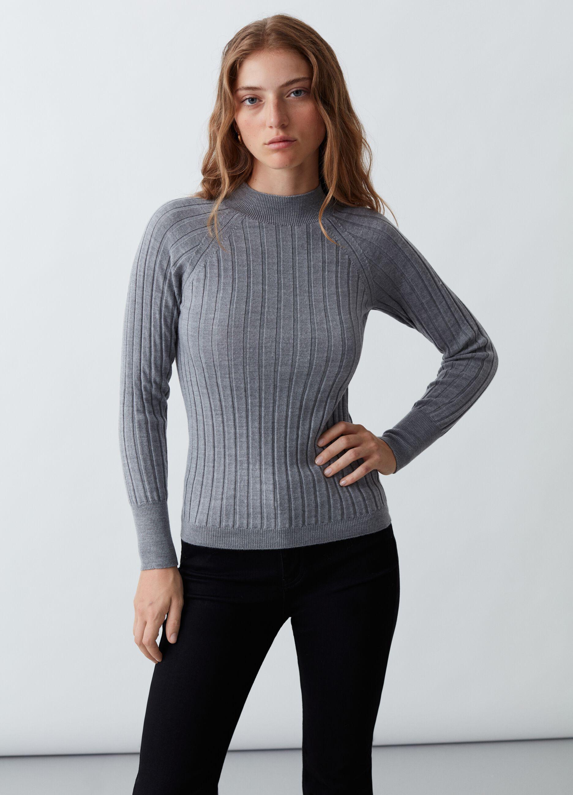 Pullover in lana merinos a coste piatte Grigio