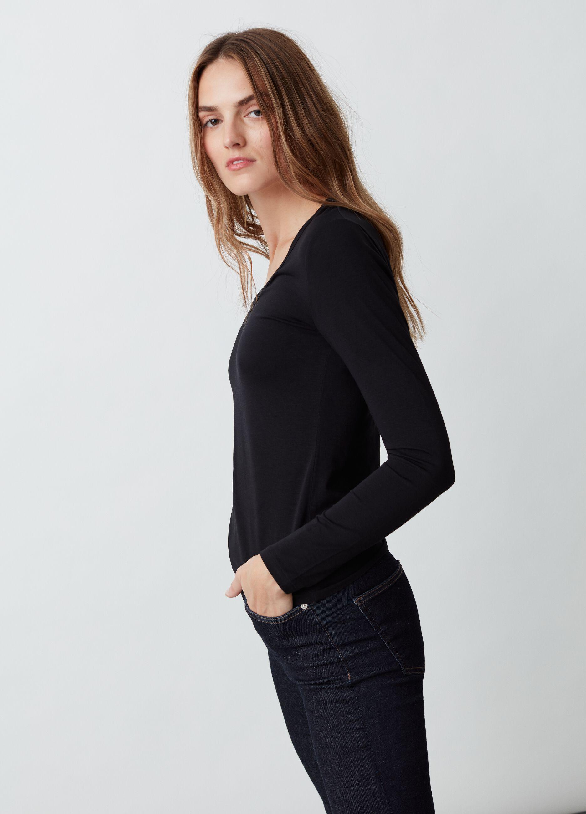 T-shirt in cotone Supima stretch Nero
