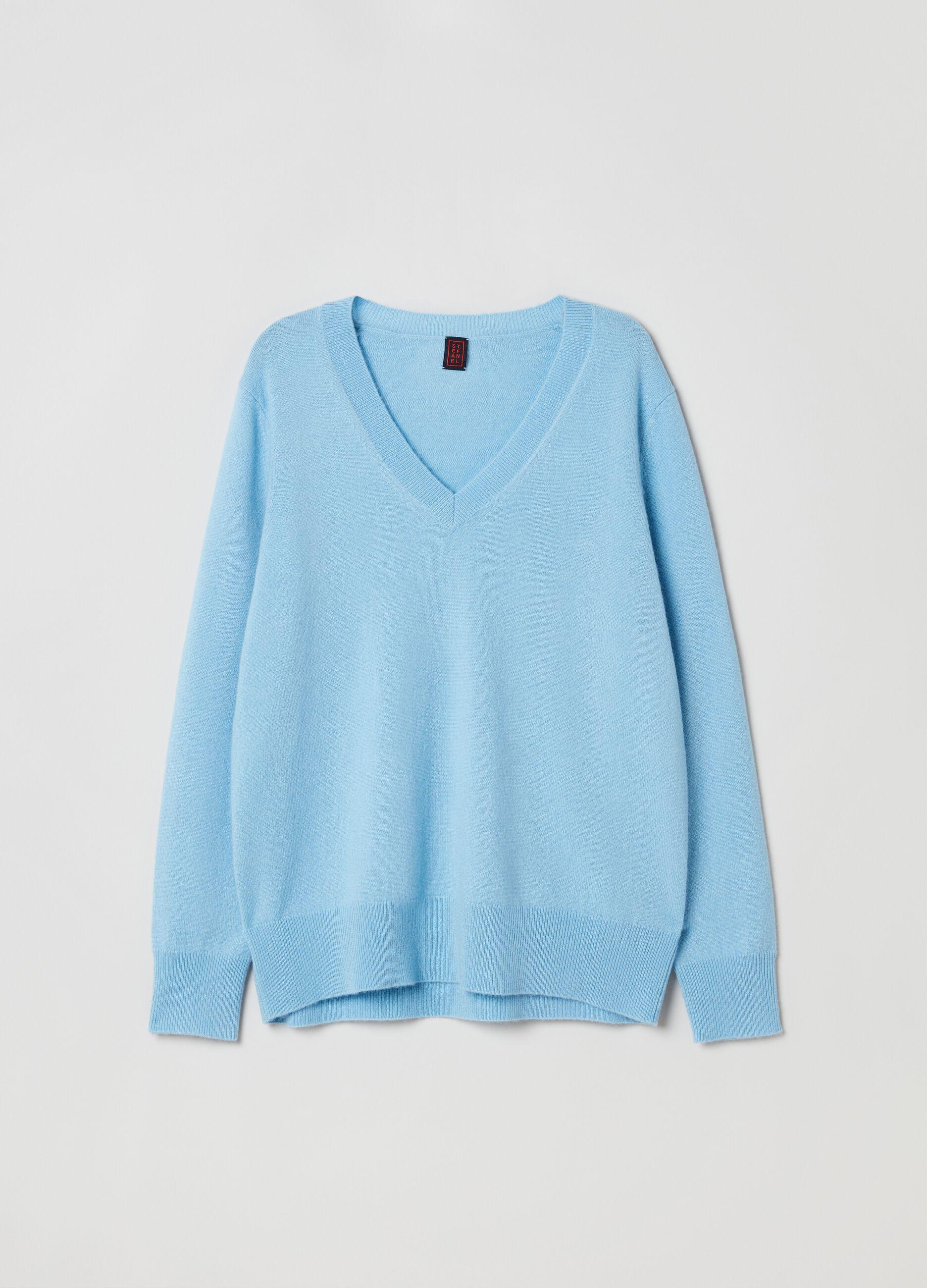 Pullover in cachemire con scollo a V Azzurro