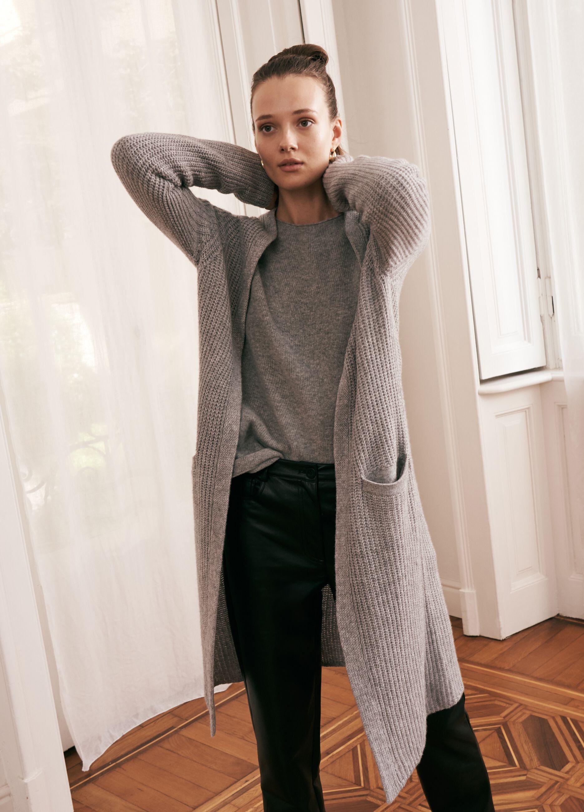 Cardigan extra lungo in lana e cachemire Grigio