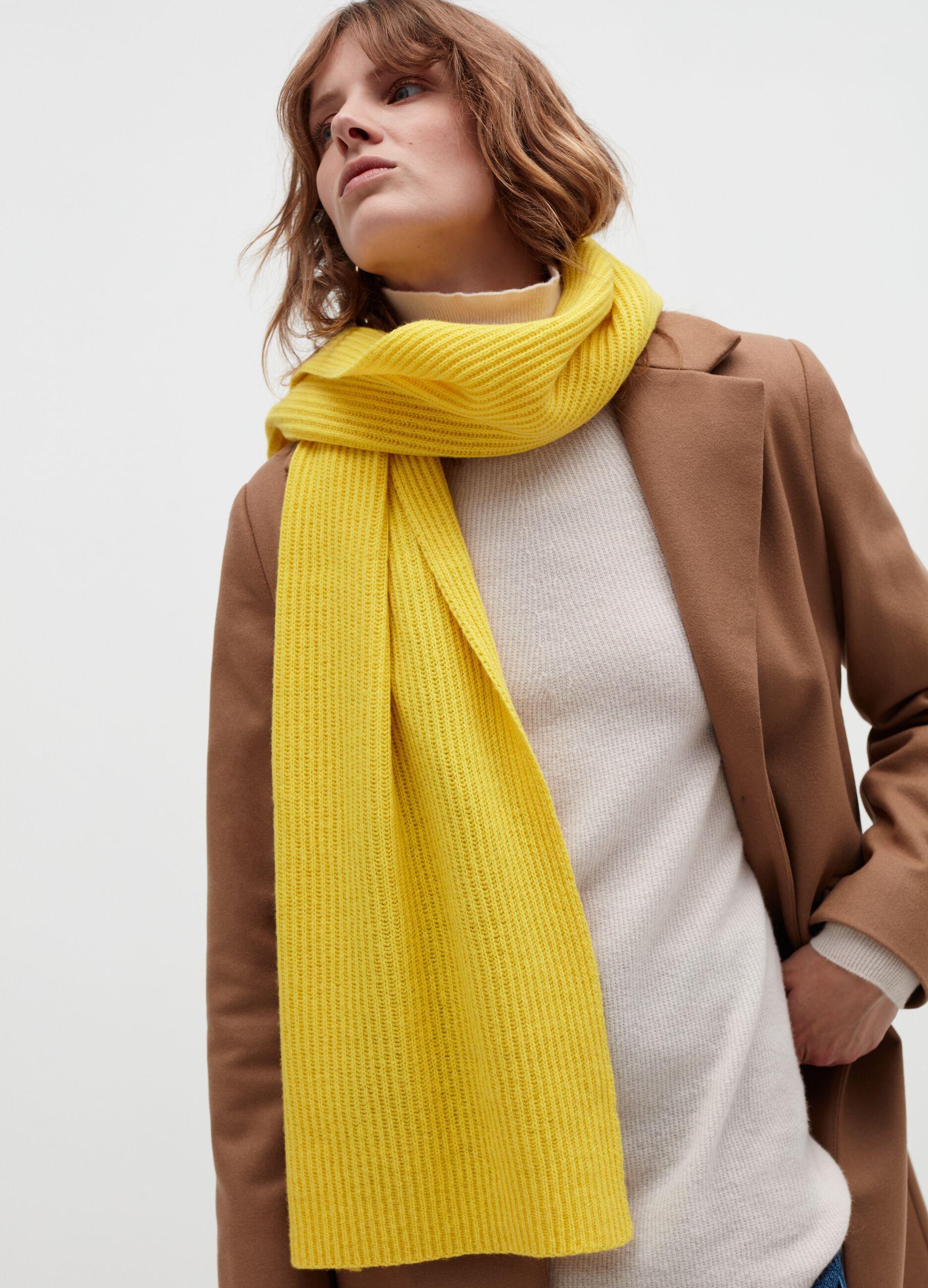 Sciarpa in lana e cachemire a coste Giallo