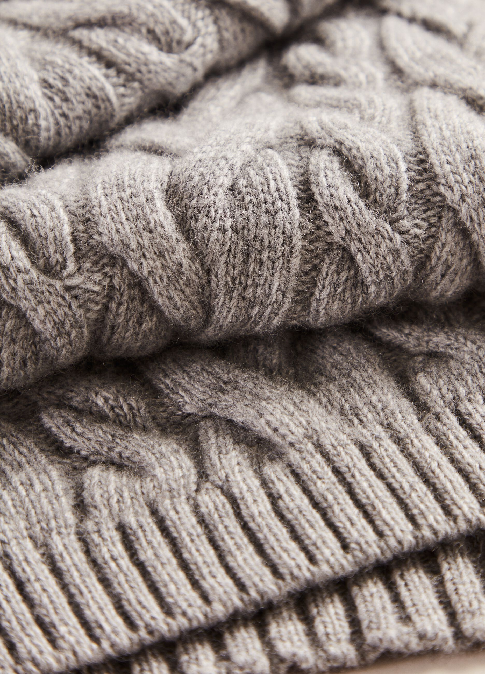 Sciarpa in lana e cachemire a trecce Grigio