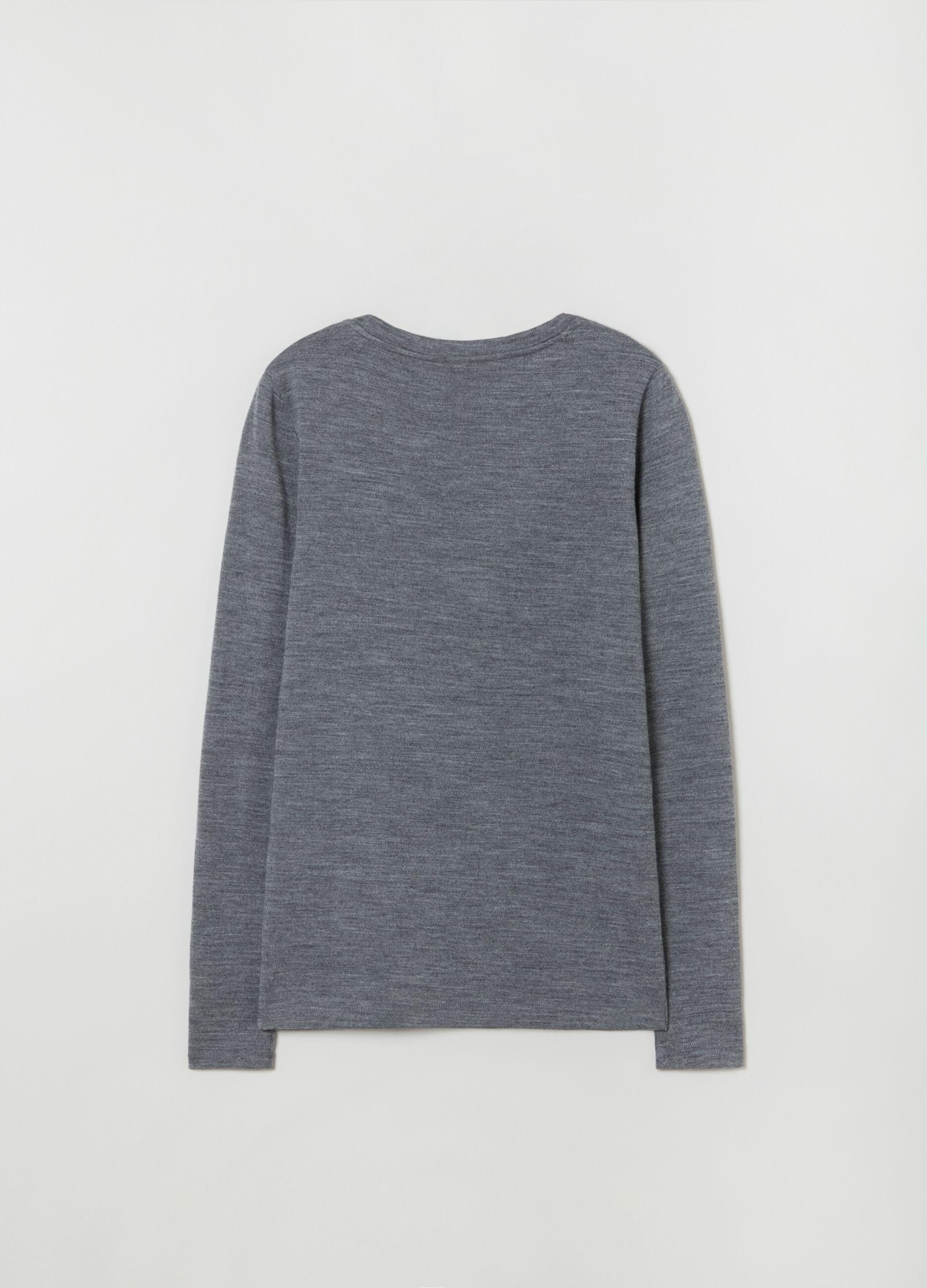 T-shirt girocollo in pura lana Grigio