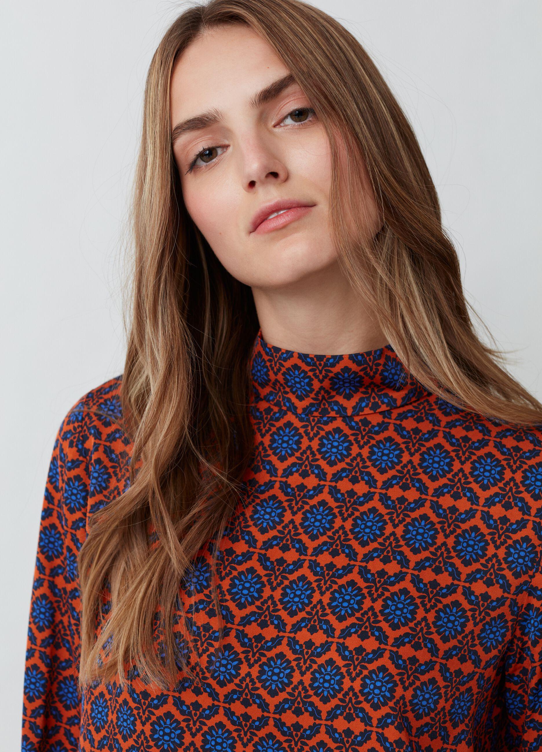 Blusa in viscosa con stampa vintage Multicolor