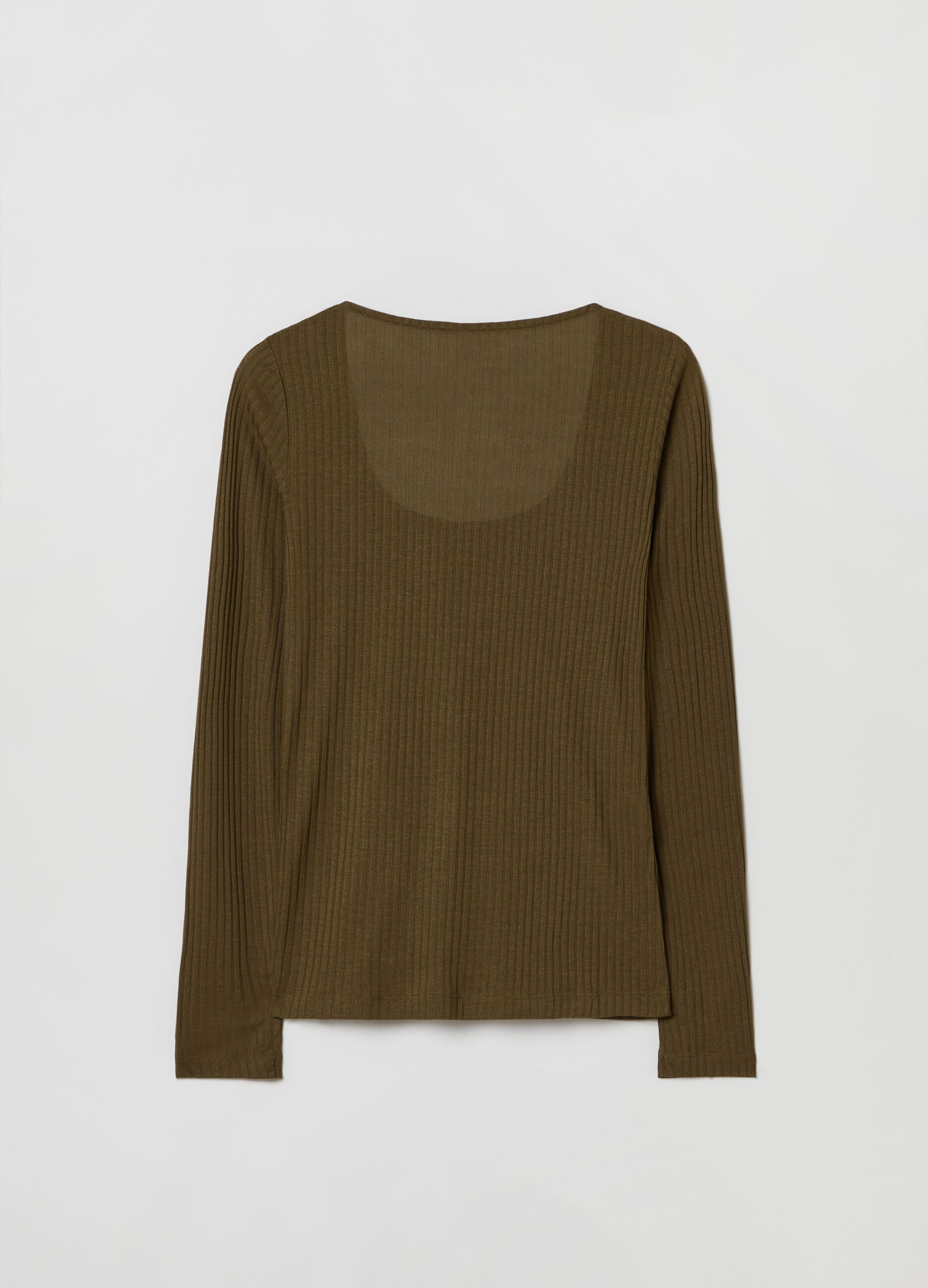 T-shirt in modal a costina larga Verde