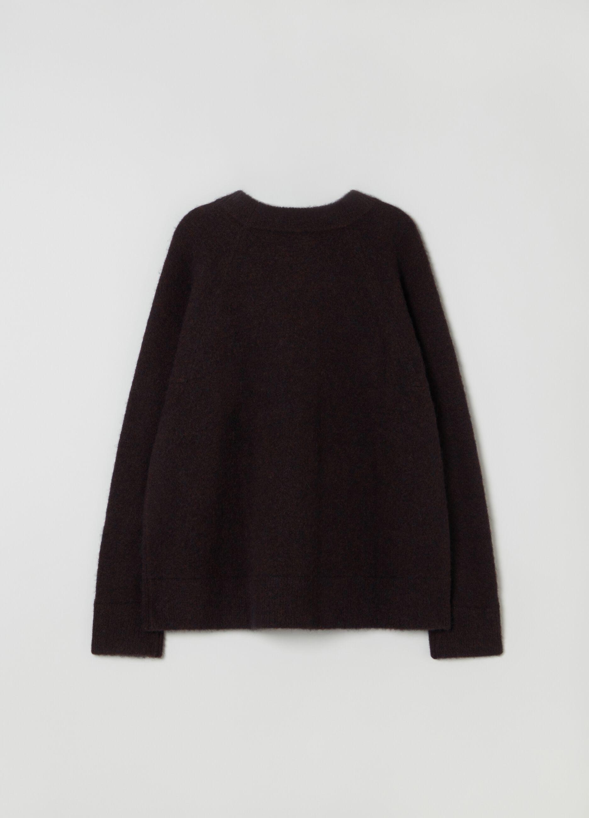 Pullover girocollo in lana merino e alpaca Marrone