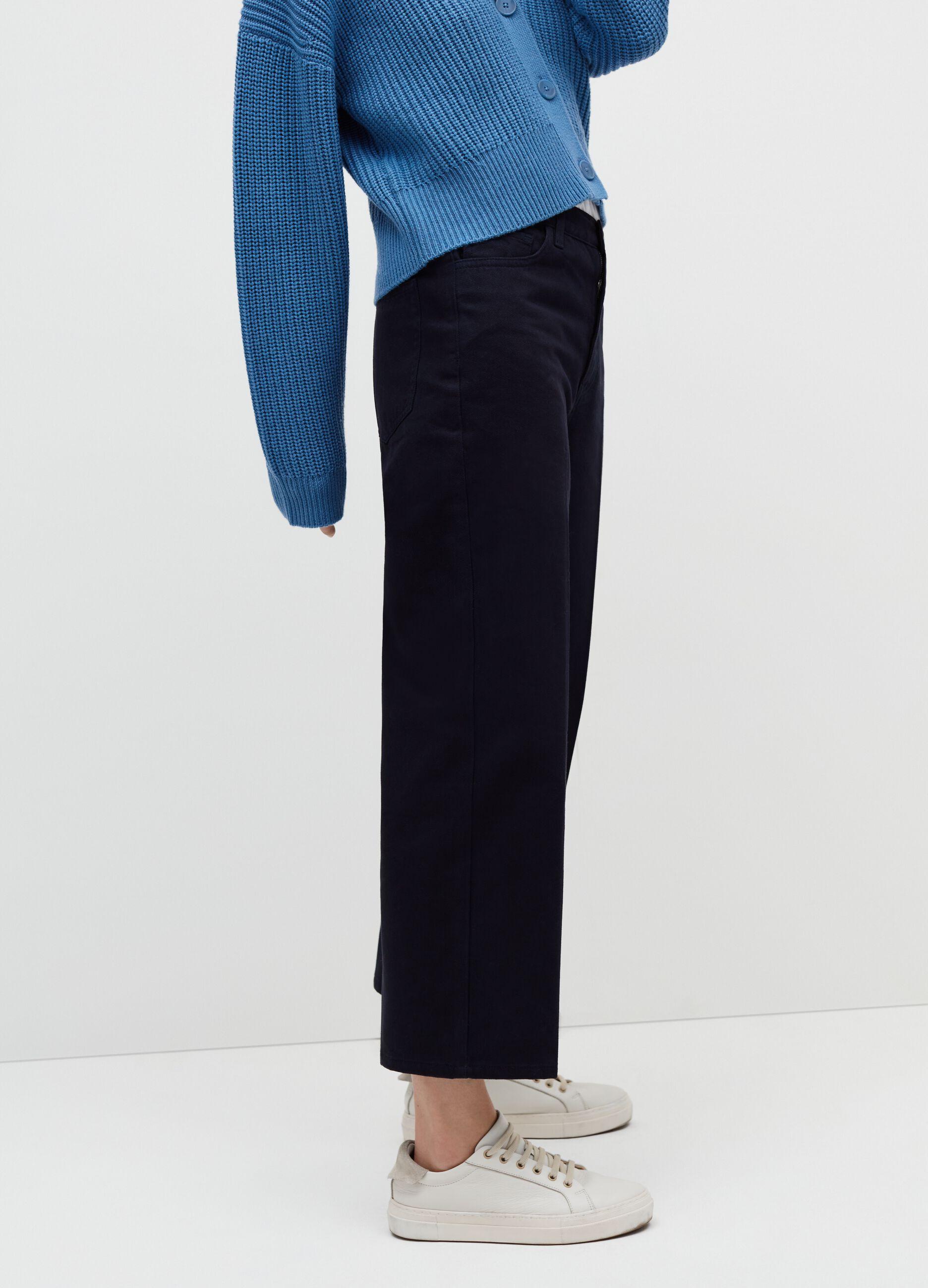 Pantalone in twill di cotone stretch Blu