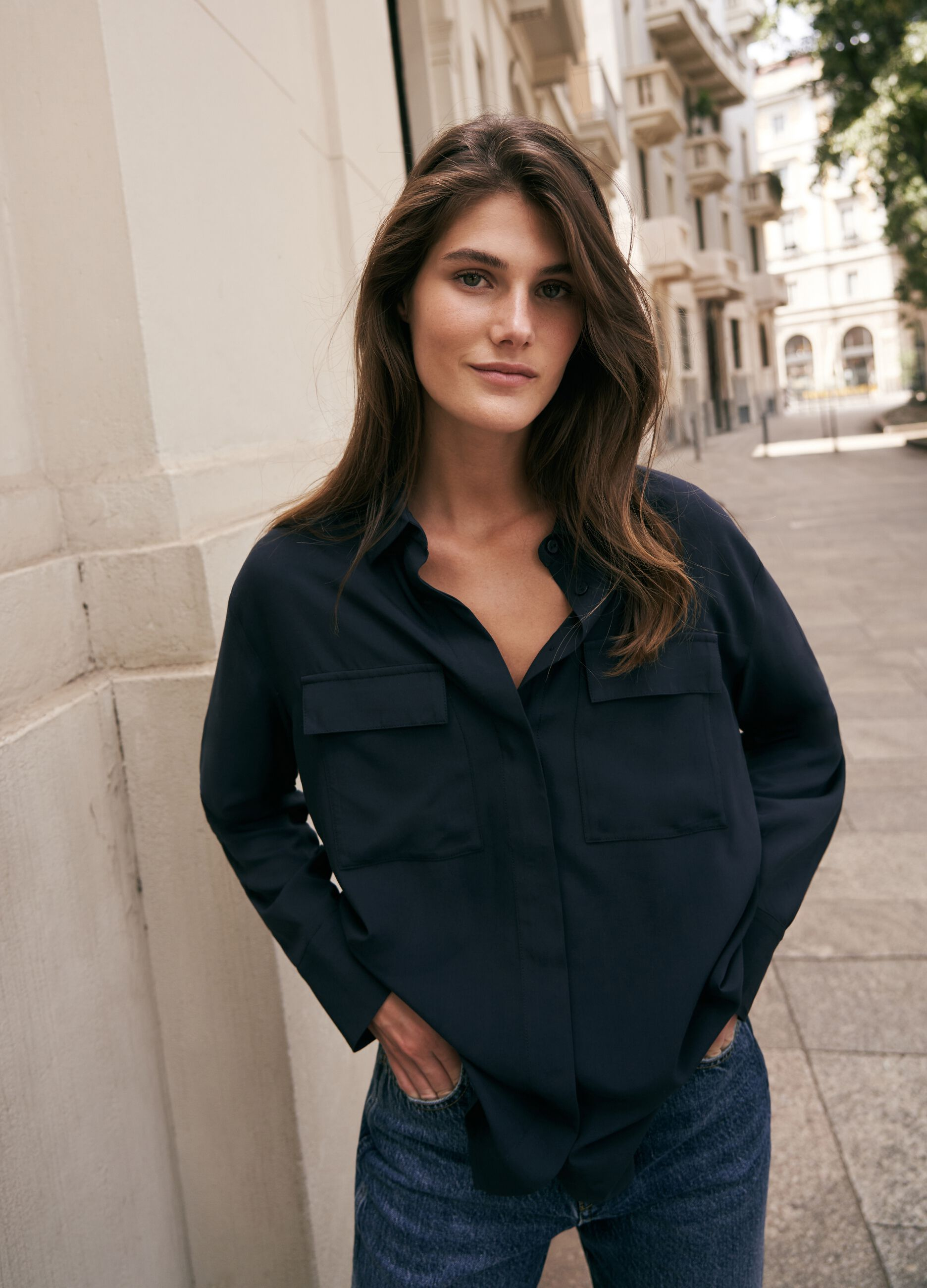 Viscose shirt with pockets Blue