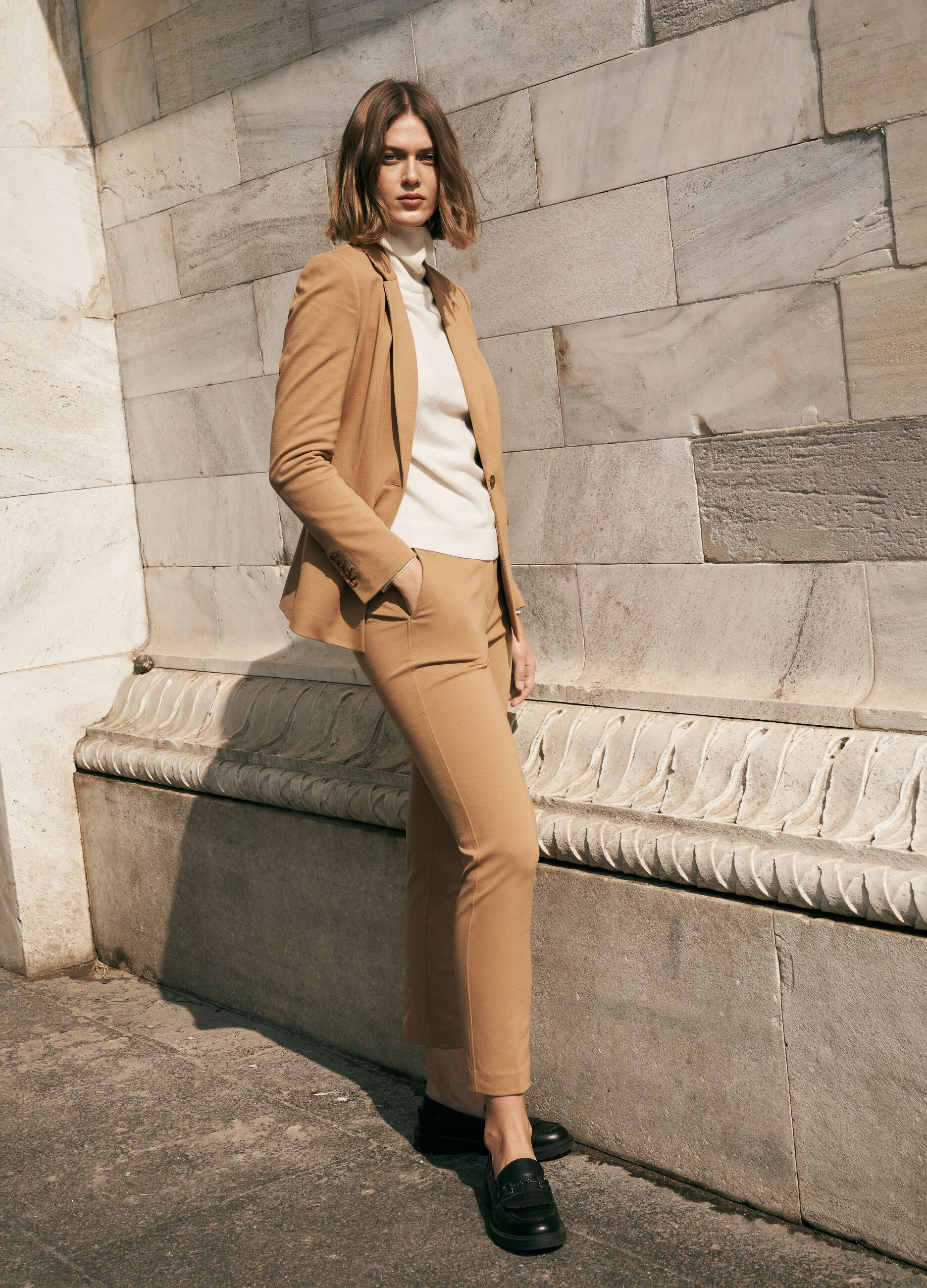 Pantalone slim fit in misto modal Marrone