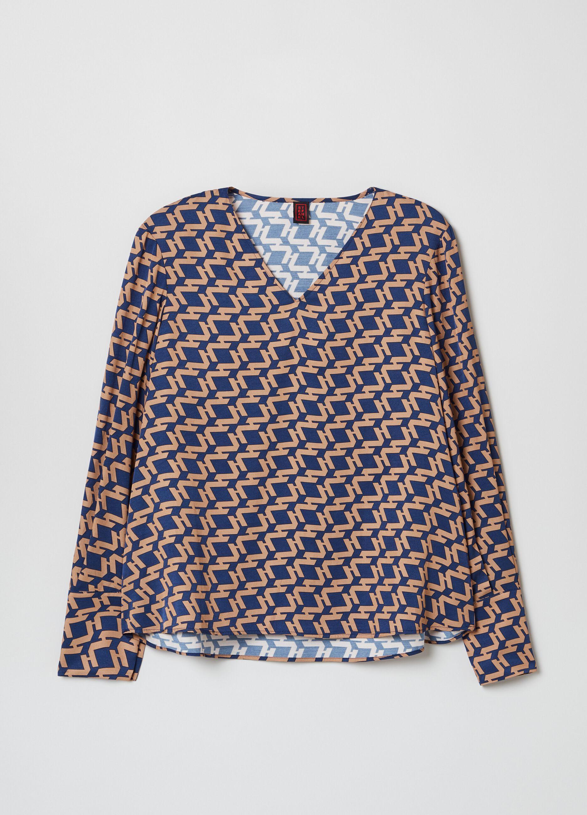 Blusa in viscosa con stampa geometrica Multicolor