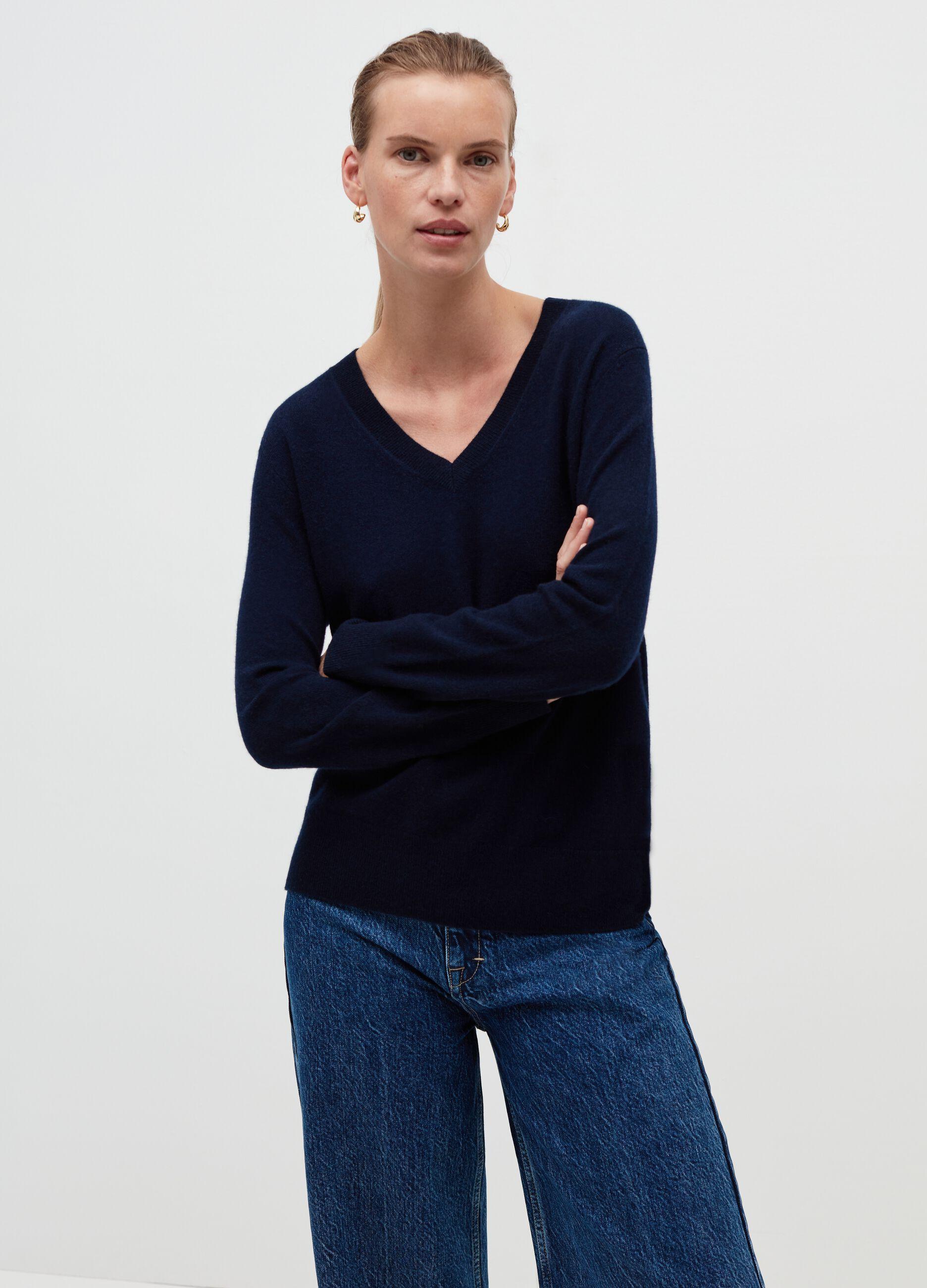 Pullover in cachemire con scollo a V Blu