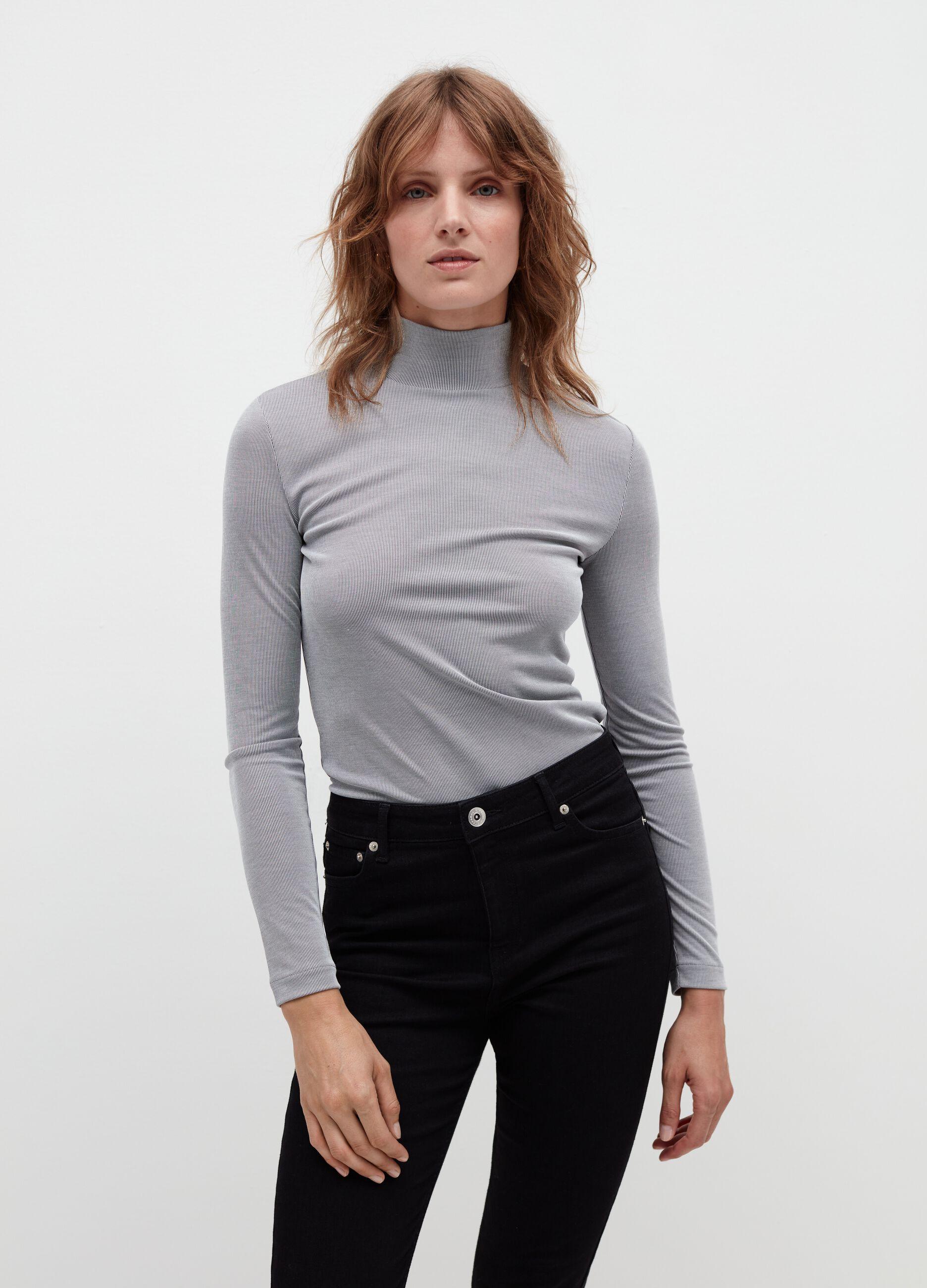 T-shirt collo alto a costina sottile Grigio