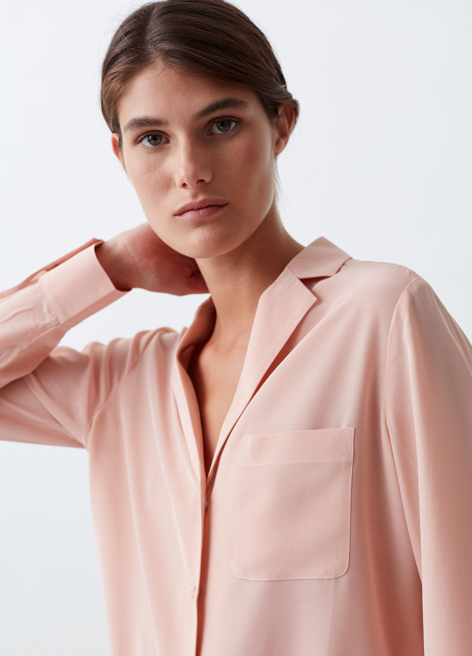 Silk shirt with lapel collar Pink
