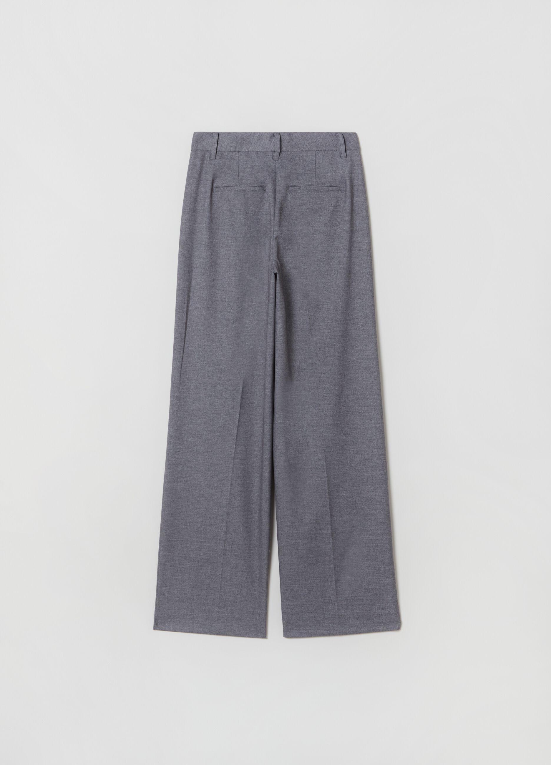 Pantalone wide leg con pinces Grigio