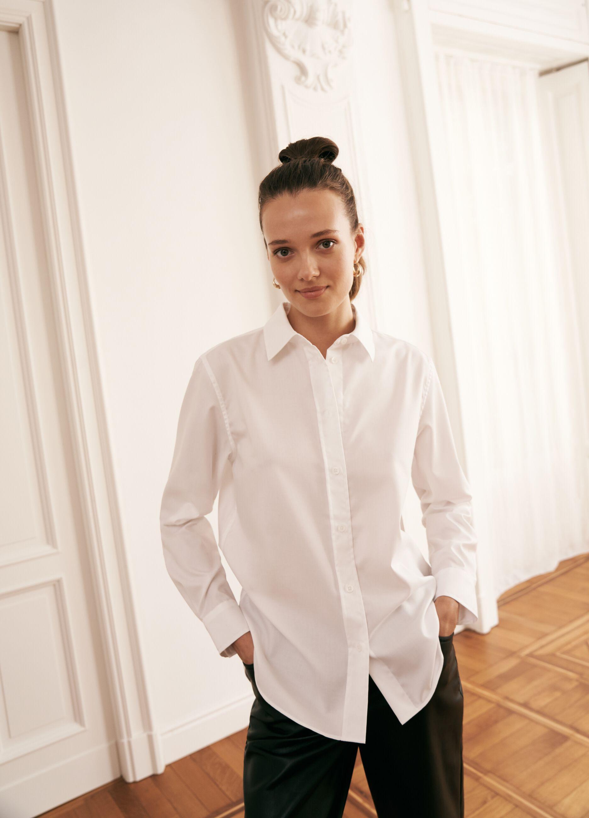 Camicia in popeline di cotone Bianco