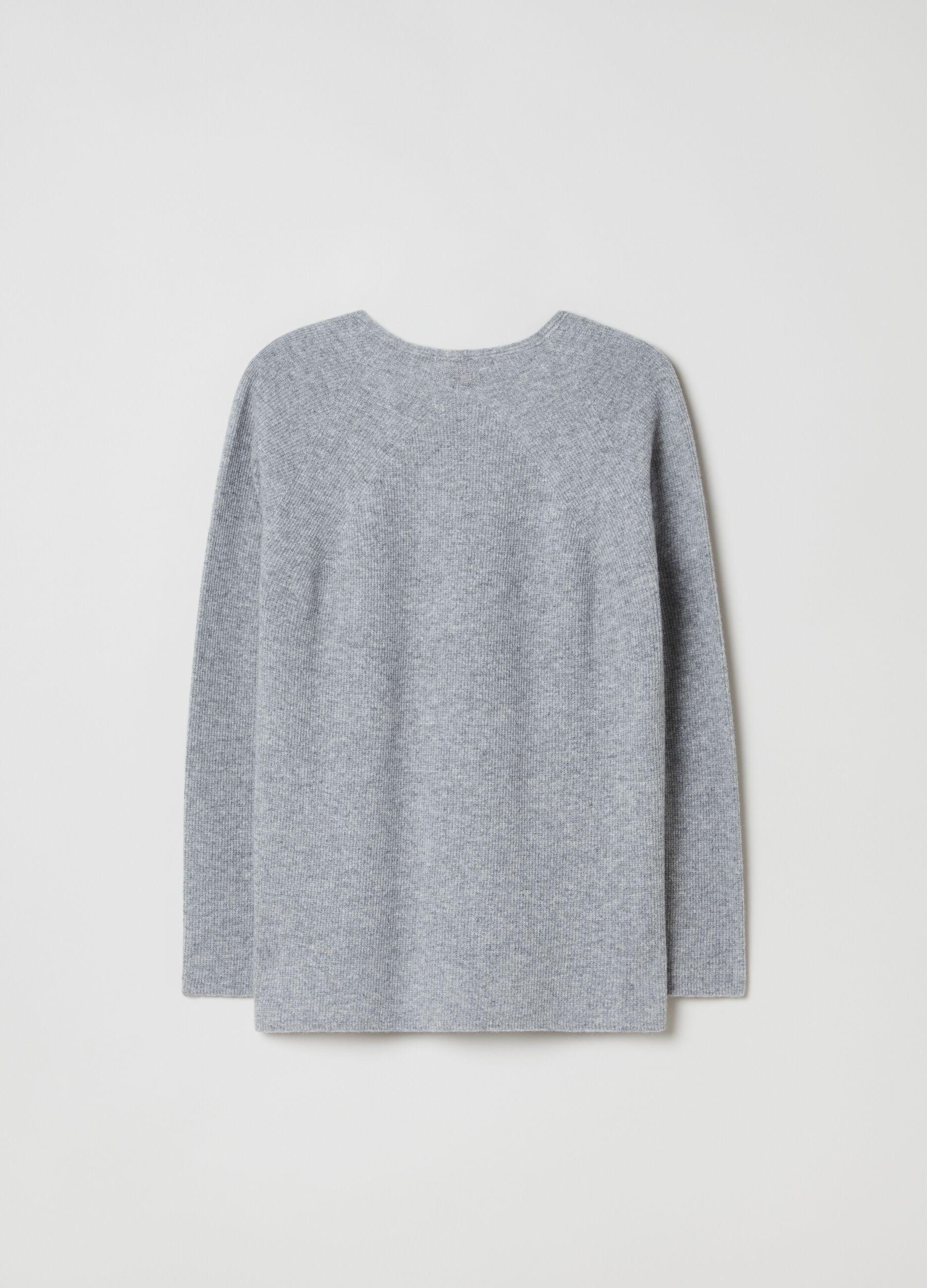 Pullover in pura lana con scollo a V Grigio