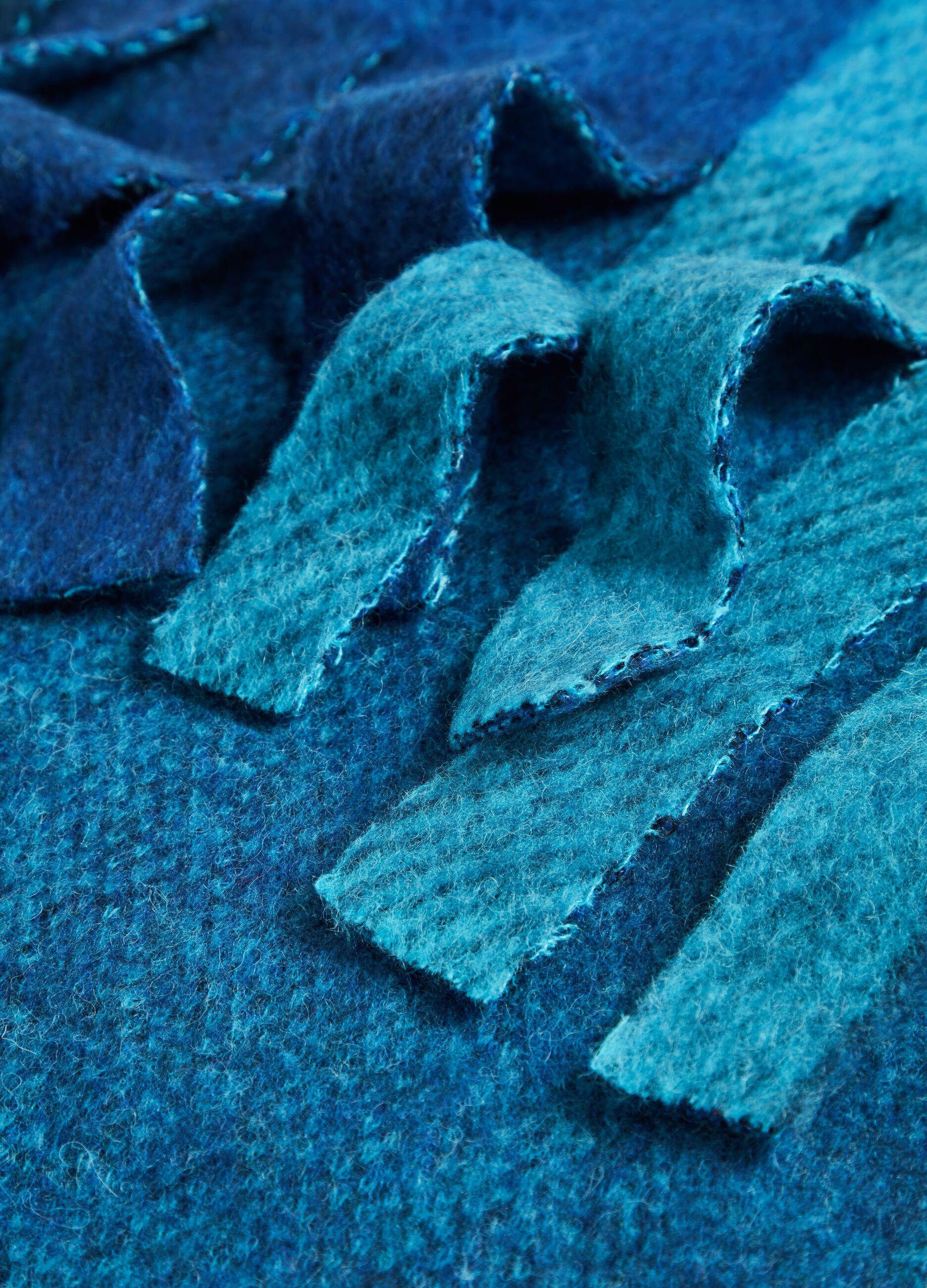 Maxi sciarpa a quadri con frange Multicolor
