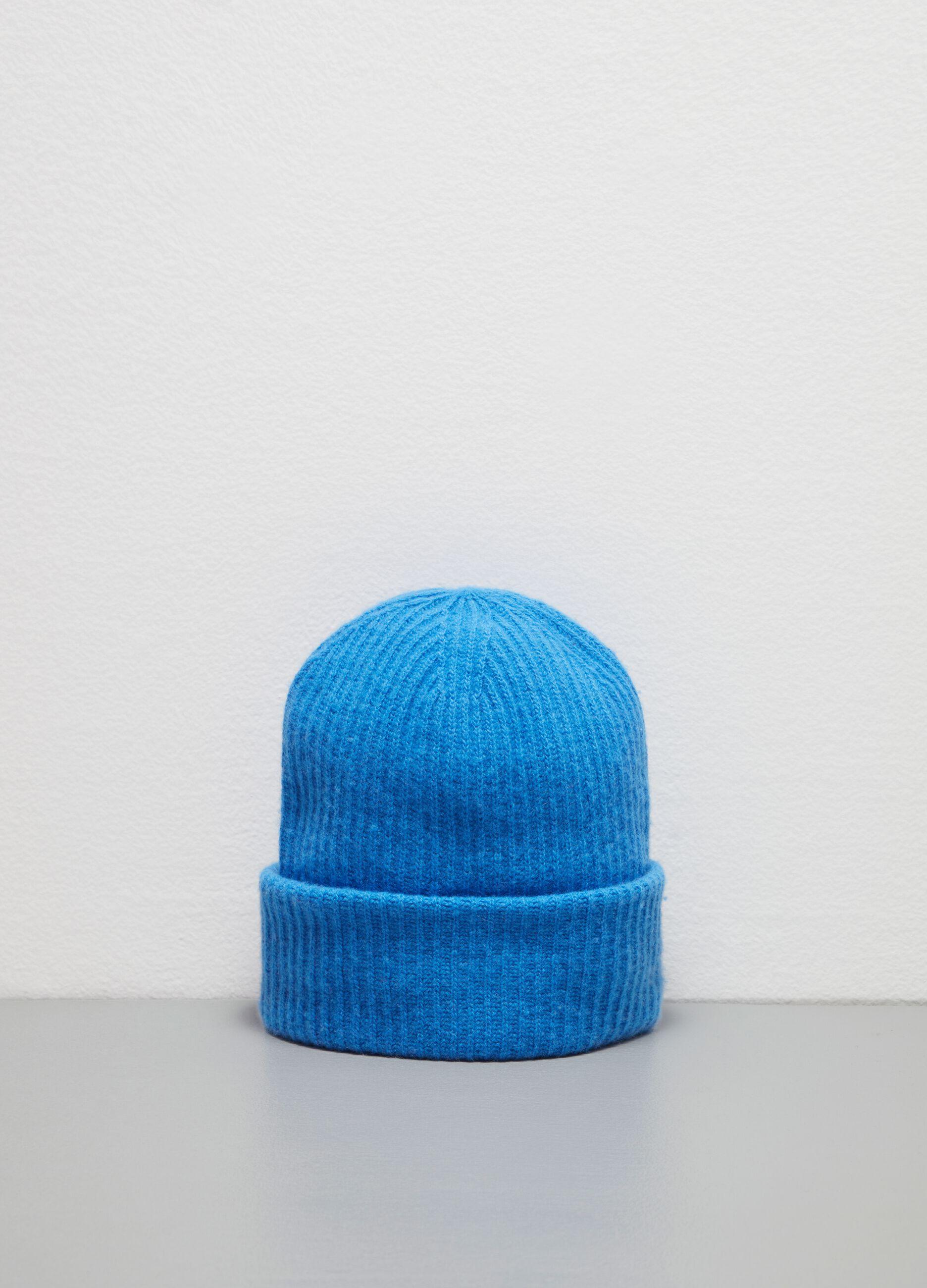 Berretto in lana e cachemire a coste Blu