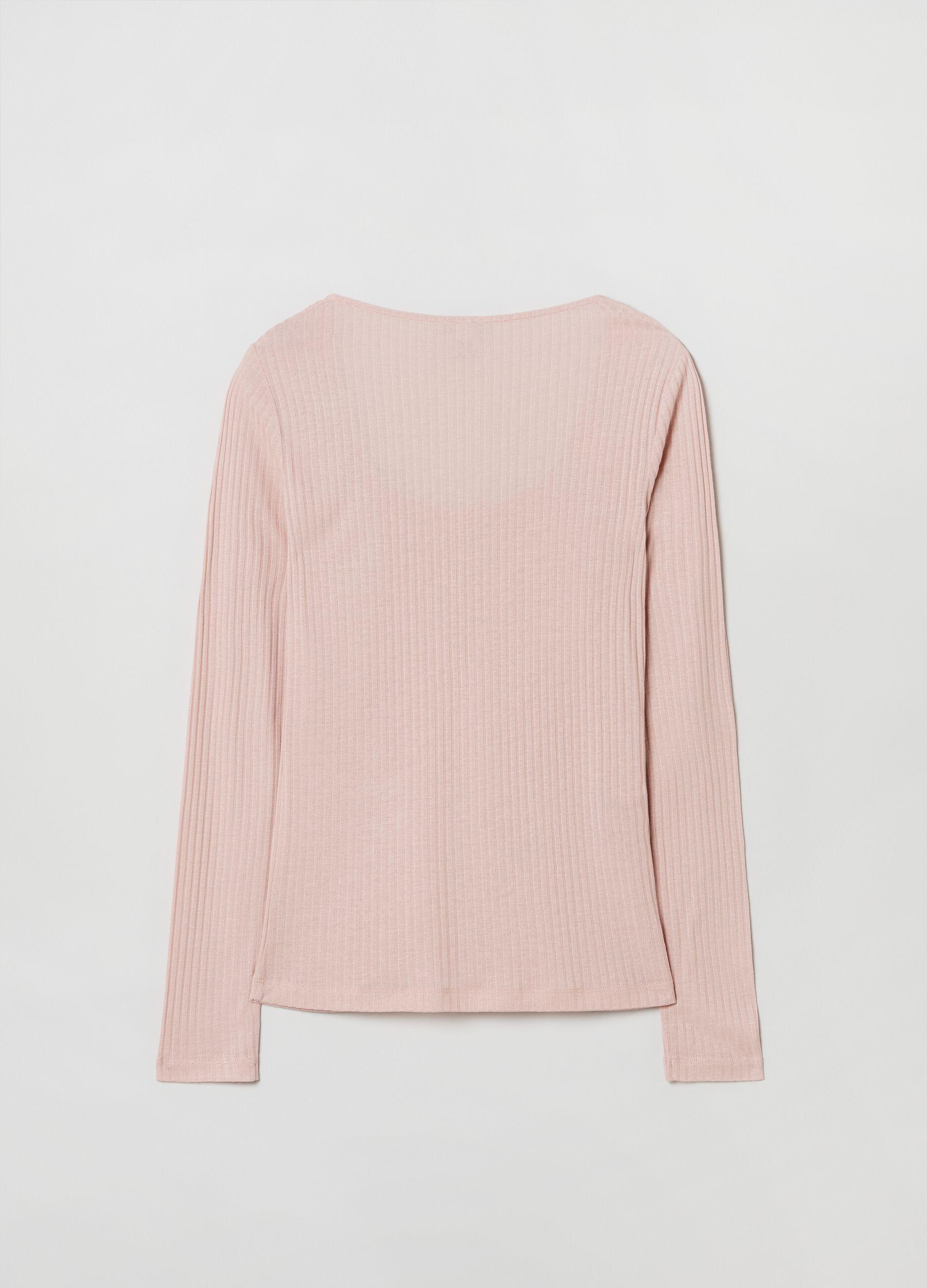 T-shirt in modal a costina larga Rosa