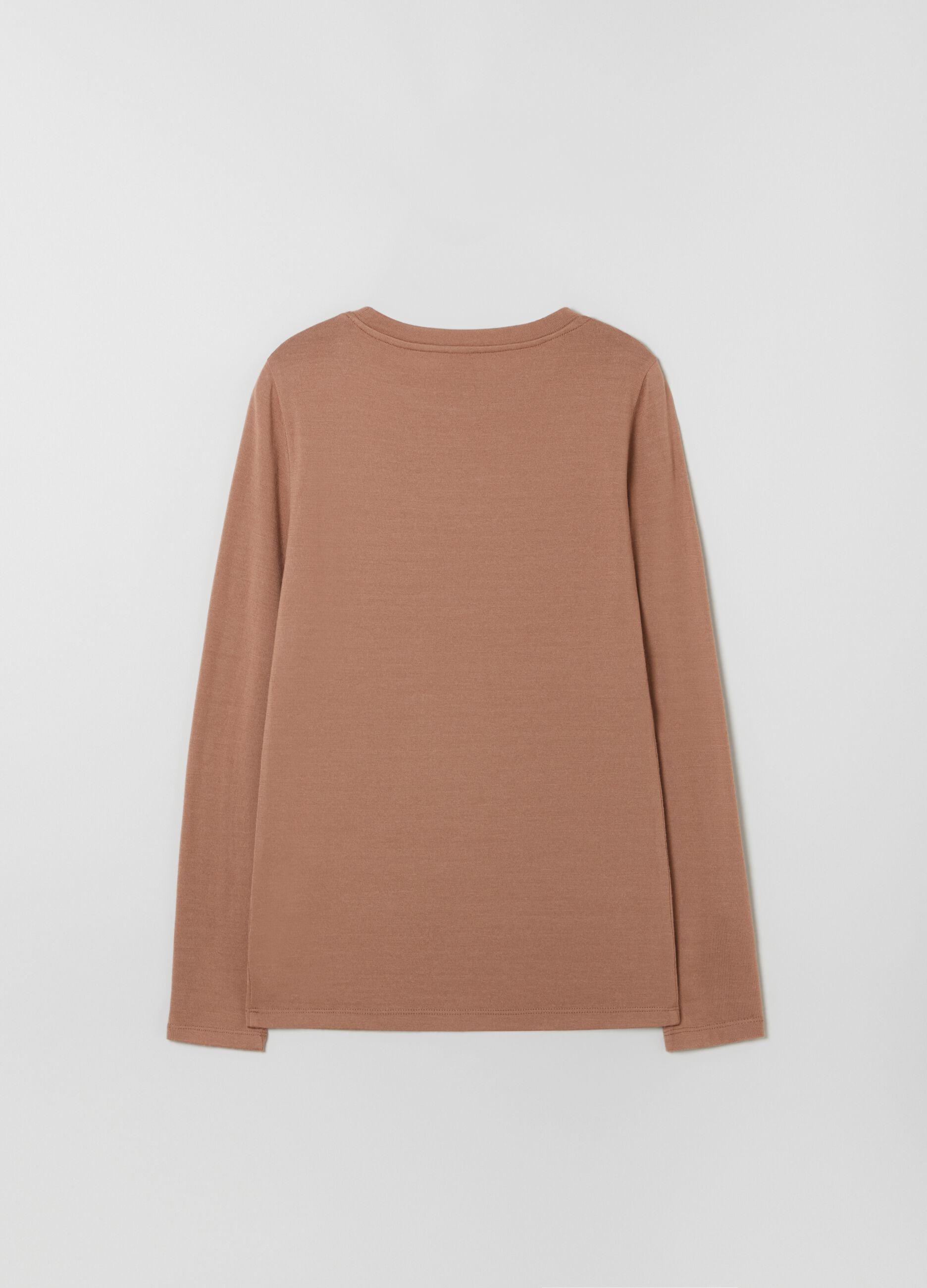 T-shirt girocollo in pura lana Marrone