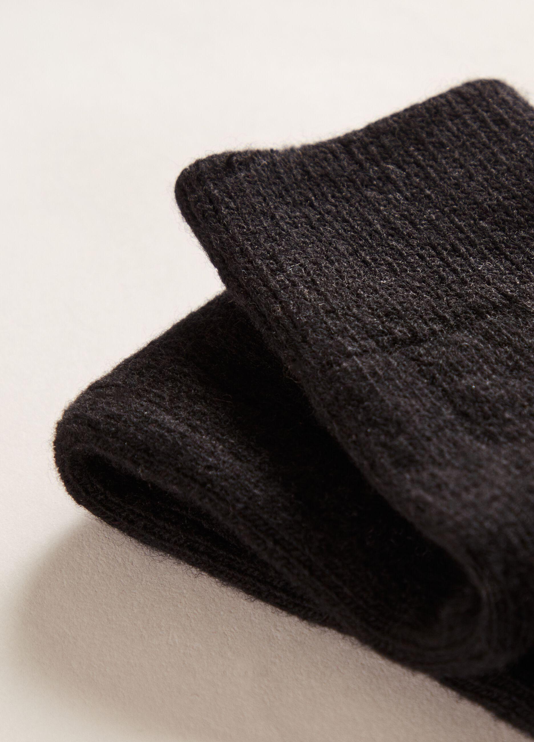 Calze lunghe in lana e cachemire Nero