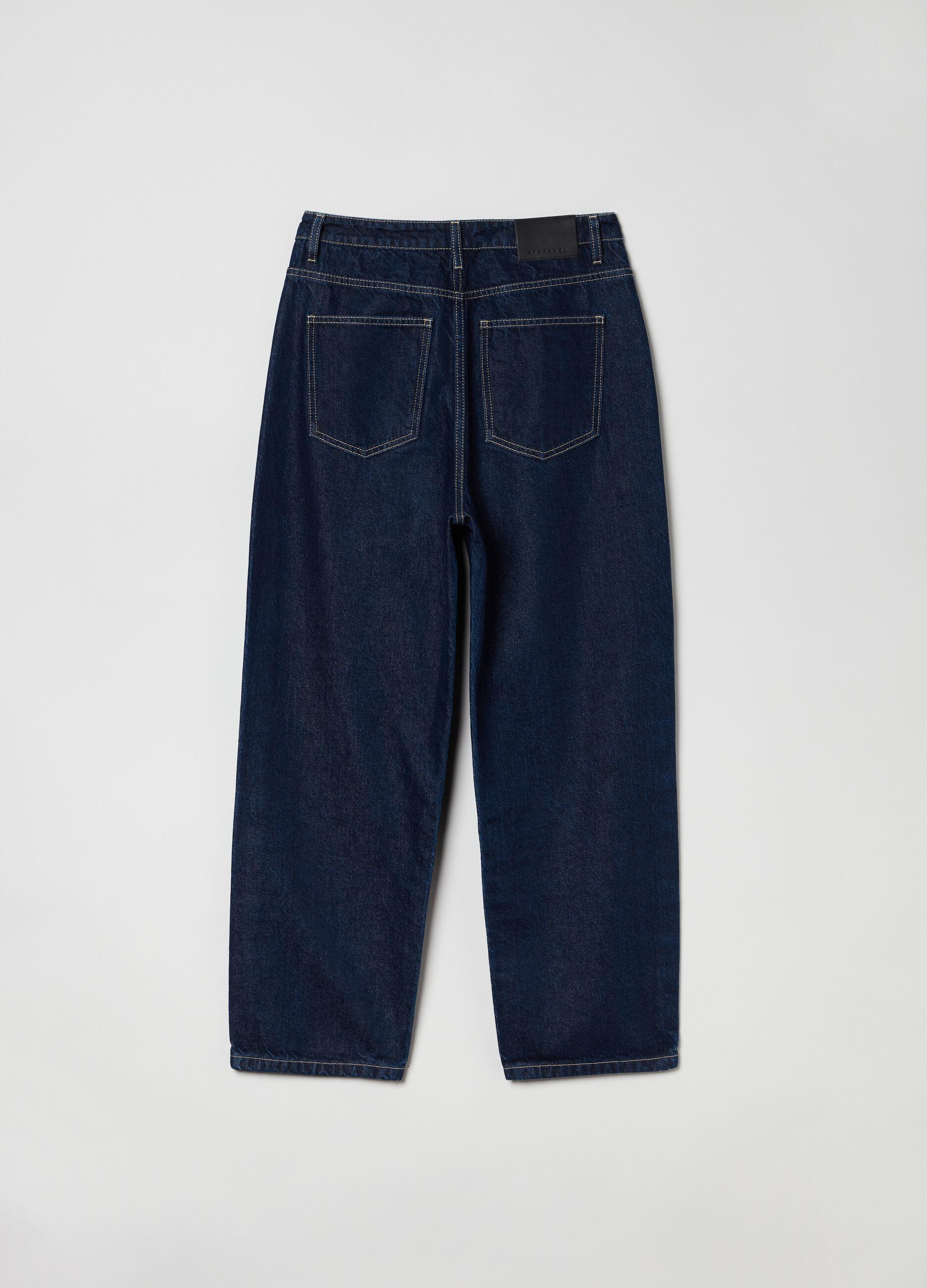 Jeans wide leg in cotone e Lyocell Denim