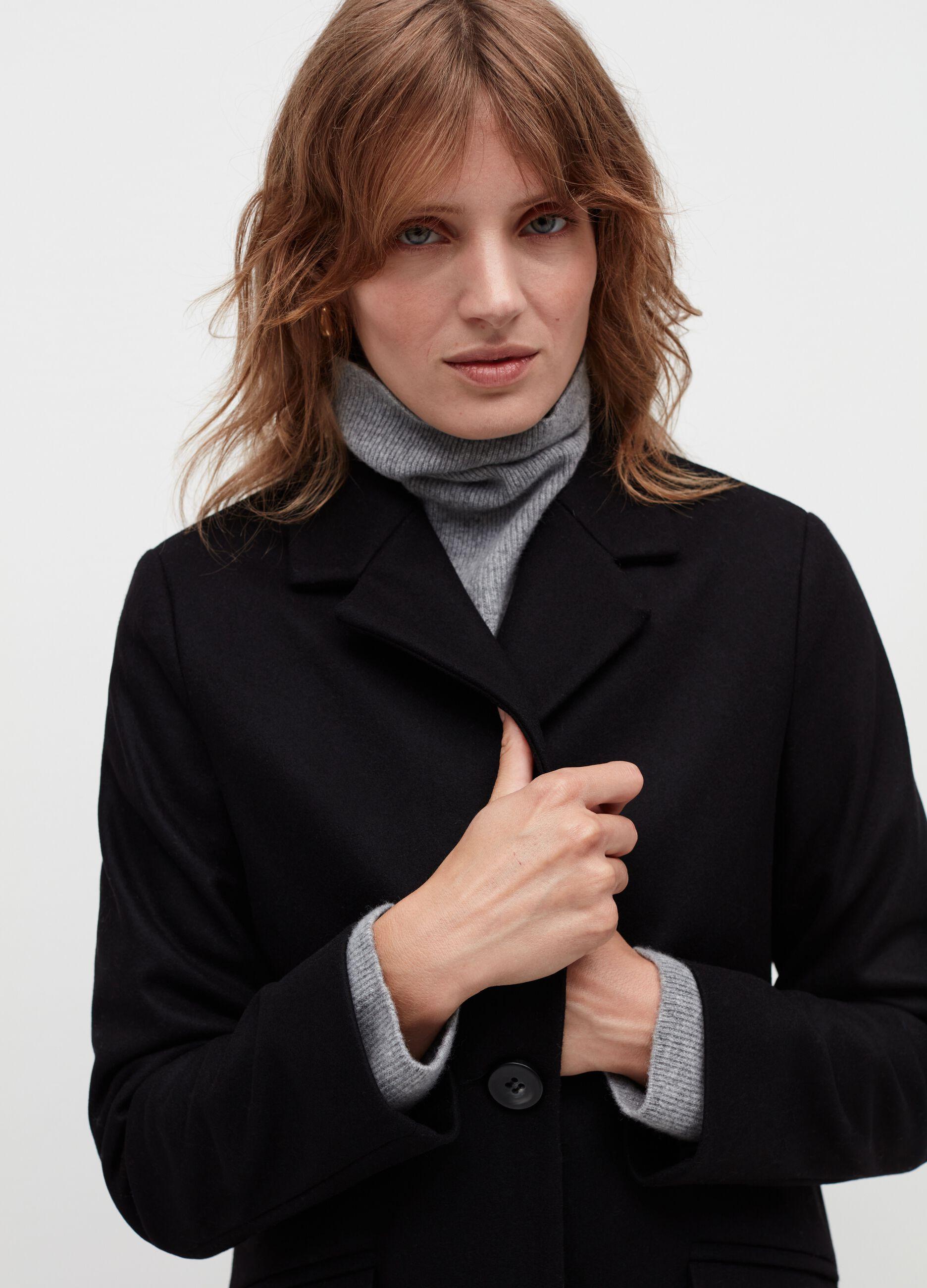 Cappotto monopetto in misto lana Nero