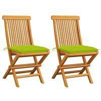 vidaXL Gartenstühle mit Hellgrünen Kissen 2 Stk. Massivholz Teak