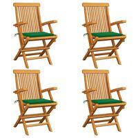 vidaXL Gartenstühle mit Grünen Kissen 4 Stk. Teak Massivholz