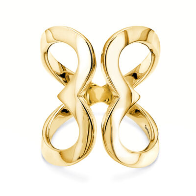 Two Hearts Statement Ring in 18K Yellow Gold, , large image number null
