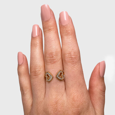 Two Hearts Diamond Ring in 18K Yellow Gold, , large image number null