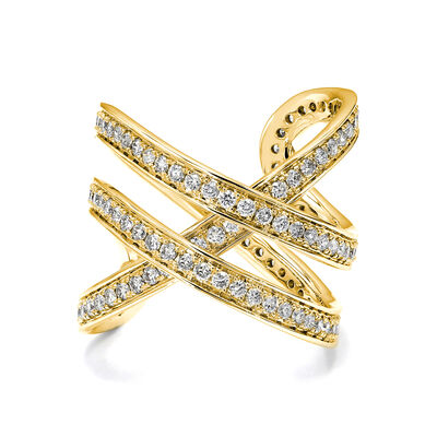 Double Infinity Diamond Ring in 18K Yellow Gold, , large image number null